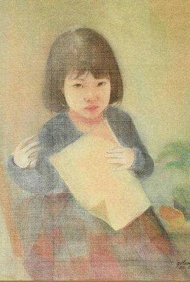 Bức tranh lụa được cho là giả mạo chữ ký cố họa sĩ Giáng Hương.