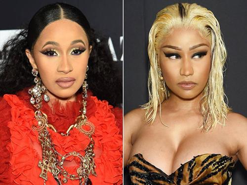 Cardi B (trái) và Nicki Minaj tấn công nhau ở tiệc thời trang.