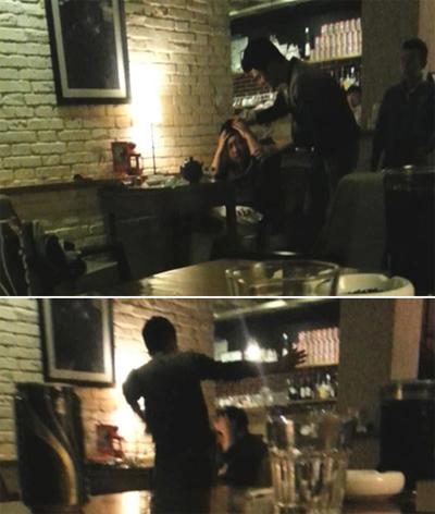 Vu Chính bị đánh trong quán cà phê.