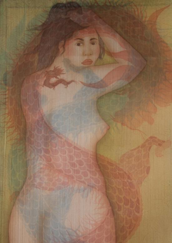 Phái đẹp khỏa thân trên tranh lụa Châu Giang