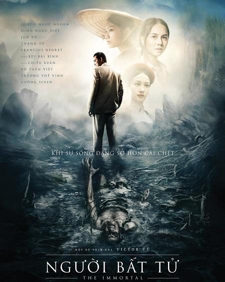 Poster gây sựtương phản với hình ảnh Hùng trong bộ vét sang trọng và người đàn ông đau đớn, kêu gào dưới mặt đất.