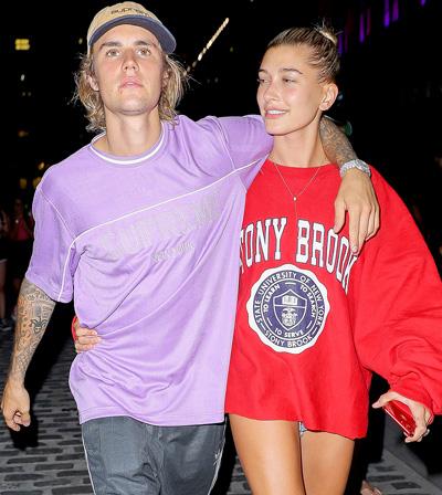 Justin Bieber bên hôn thê Hailey Baldwin.