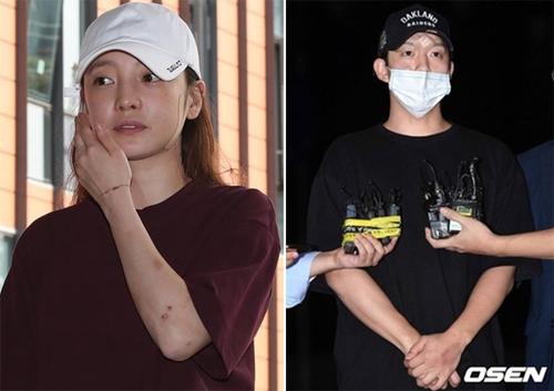 Cả Goo Hara và Choi Jong Bum đều trình diện cảnh sát với các vết thương trên người.