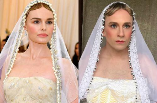 Nam diễn viên ăn mặc, trang điểm khá giống Kate Bosworth ở Met Gala 2018.