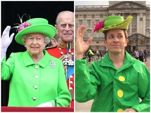 Nam diễn viên Mỹ tái hiện bộ áo choàng xanh giốngnữ hoàng Anh Elizabeth từ giấy màu.