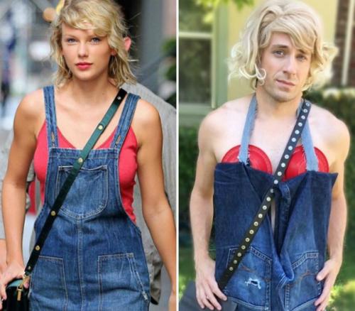 Nam diễn viên tận dụng quần denim cũ để nhái lại chiếc váy bò của Taylor Swift.