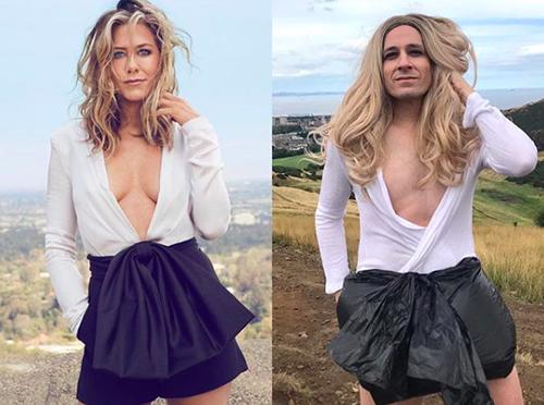 Nam diễn viên nhái váy đính nơ của Jennifer Aniston bằng túi nilon.