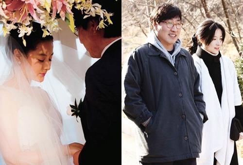 Khi Lee Young Aekết hônở Hawaii, Mỹ năm 2009 (ảnh trái),danh tính chồng cô được giấu kín. Nhiều năm sau doanh nhân Jung Ho Young mới lộ diện.