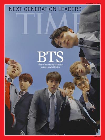 BTS trên bìa tạp chí Time ấn bản châu Á. Các thành viên của nhóm gồm Jimin, Jin, Suga, J-Hope, RM, V và  Jung Kook.