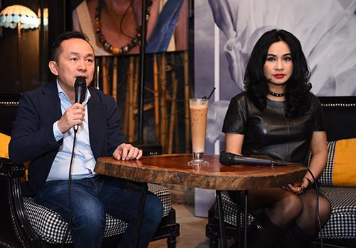 Quốc Trung và Thanh Lam ở buổi họp báo giới thiệu liveshow Bình minh hôm 16/10. Ảnh. Giang Huy.