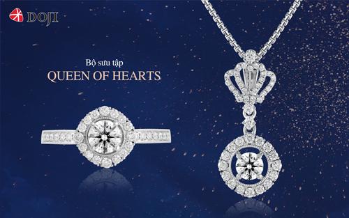 Kim cương sử dụng cho bộ sưu tập Queen of hearts được kiểm định chất lượng quốc tế IGI với thiết kế đặc biệt, tôn lên khí chất của người phụ nữ thành đạt, tự tin.