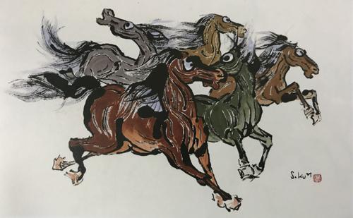 Một tác phẩm của Lee Sung Kun được trưng bày tại triển lãm.