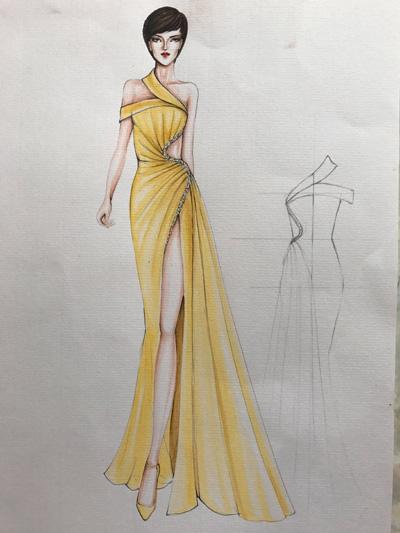Chiếc váy được đặt tên Chiến binh quyến rũ với những đường xếp ly tỉ mỉ và các đoạn cắt khoét tôn đường cong cơ thể.