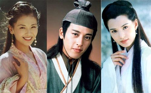 Tạo hình A Châu, Lệnh Hồ Xung, Tiểu Long Nữ (từ trái sang) của các diễn viên Lưu Đào, Lữ Tụng Hiền, Lý Nhược Đồng.