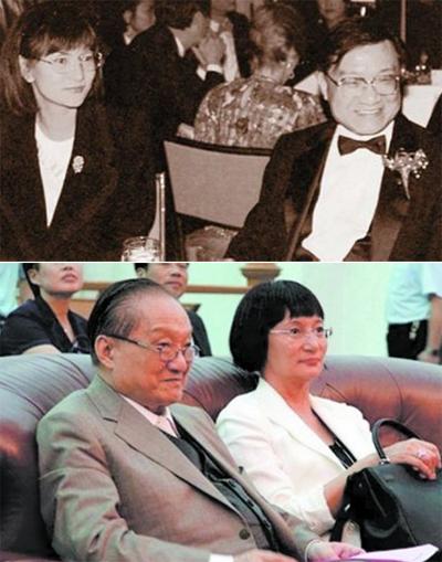 Kim Dung bên người vợ hiện tại - Lâm Nhạc Di.