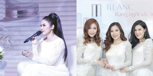Diễn viên Việt Trinh (trái) vànhóm nhạc BB Stars.