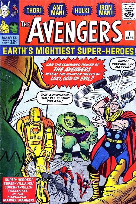Bìa truyện đầu tiên về nhóm Avengers (năm 1963).