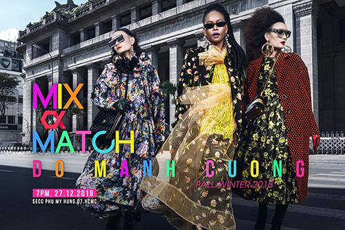 (Từ trái qua) Người mẫu Thùy Trang, Lâm Thu Hằng và Lê Thúy trong trang phục Thu Đông 2018 của Đỗ Mạnh Cường.