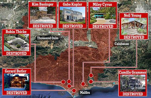 Hàng chục biệt thự triệu USD của các ngôi sao Hollywood bị phá huỷ hoàn toàn, đều là những ngôi nhà gần bờ biển. Nhà của Miley Cyrus cách không xa nơi ở của tài tử Gerard Butler và Kim Basinger.