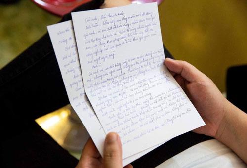 Lá thư viết tay của Hương Tràm.