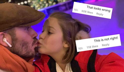 David Beckham tiếp tục bị chỉ trích khi hôn môi con gái Harper