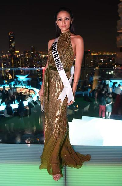 Đại diện Puerto Rico cũng chọn đầm sequin dài quét đất với thiết kế cổ yếm. Kiara Ortegalà một trong những nhan sắc được đánh giá cao tại cuộc thi. Trang Missosology bình chọn cô ở vị trí thứ hai trong bảng xếp hạng các ứng viên sáng giá cho ngôi hoa hậu.