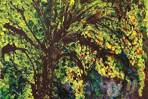 Bức Mùa hoàng yến, chất liệu acrylic của Phạm Xuân Dung.