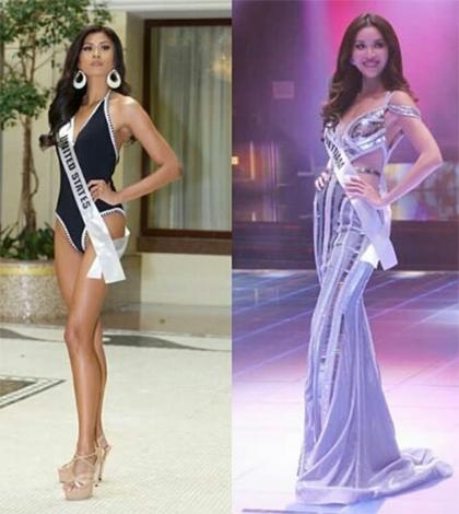 Hoa hậu Mỹ (trái) và Việt Nam.
