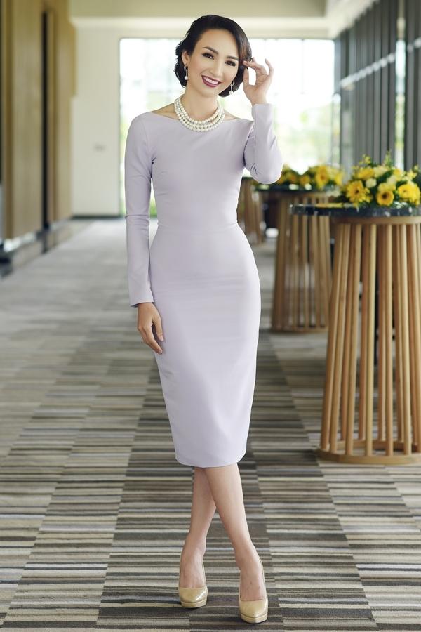 Ngọc Diễm mặc váy ôm dáng dự sự kiện