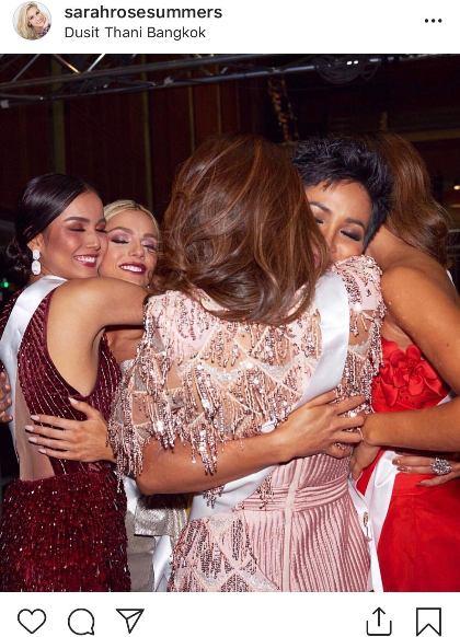 Hoa hậu Mỹ đăng ảnh cô ôm Hoa hậu Campuchia còn Hoa hậu Autralia ôm HHen Niê sau khi xin lỗi.