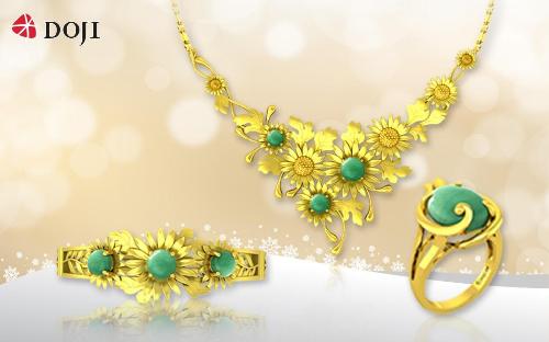 Vẻ đẹp lấp lánh của chất liệu vàng 24K mang đến sự quý phái khi kết hợp cùng thiết kếđậm hơi thở thiên nhiên.