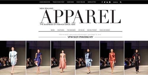 Các thiết kế của Phương Mytrên tạp chí thời trang lâu đời Apparelcủa New Zealand.