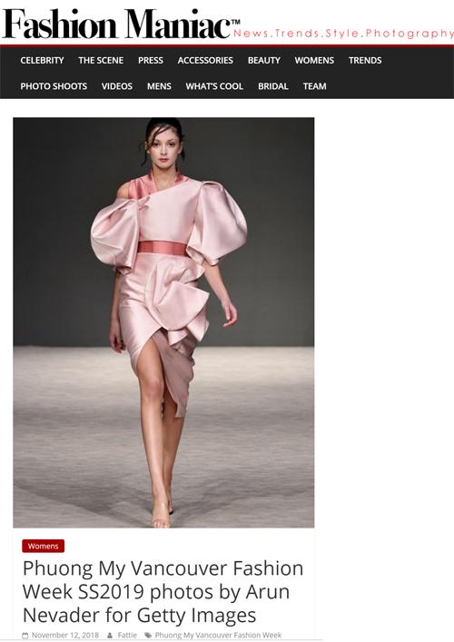 Thiết kế của Phương My trên tạp chí Fashion Maniac của US.Phương My là một trong những nhà thiết kế Việt thành côngtại thị trường thời trang thế giới. Thương hiệu PHUONG MY sở hữu30 cửa hàng tại nhiều nơi trên thế giới nhưItaly, Tây Ban Nha, Pháp, Anh, Bỉ, Ireland, Dubai, Lebanon, Saudi Arabia, Kuwait, Qatar, Jordan, Nhật Bản, Trung Quốc, Đài Loan... Việc BST của Phương My được nhiều tạp chí thời trang lớn thế giới đồng loạt đăng tải làminh chứng cho sức lan tỏa của một thương hiệu thời trang Việt.