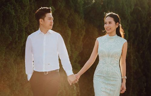 Ca sĩ Lê Hiếu và vợ sắp cưới - Thu Trang.