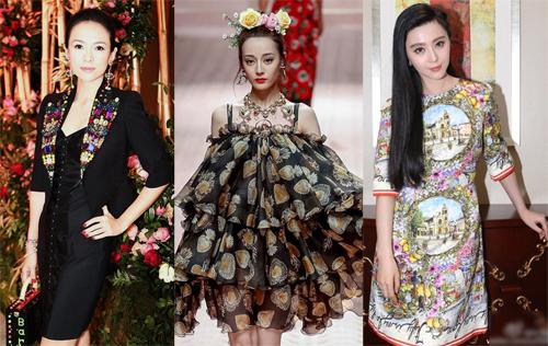 Chương Tử Di, Địch Lệ Nhiệt Ba, Phạm Băng Băng (từ trái sang) trong các thiết kế của Dolce & Gabbana.