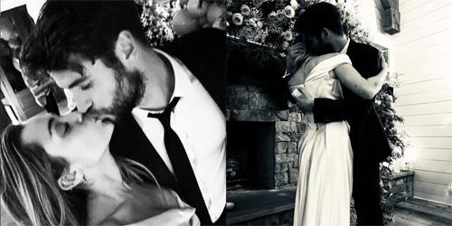 Miley và Liam trong đám cưới.