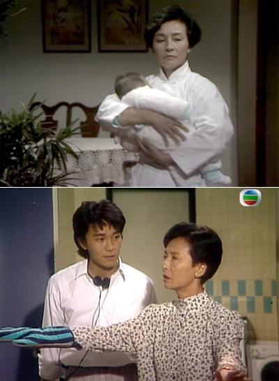 Lương Ái trong phim TVB Nghĩa bất dung tình (trên) và Cuộc sống công bằng.