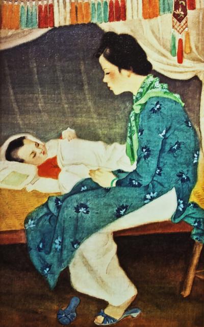 Tranh phác họa hình ảnh vợ họa sĩ Cát Tường cùng con gái ông.