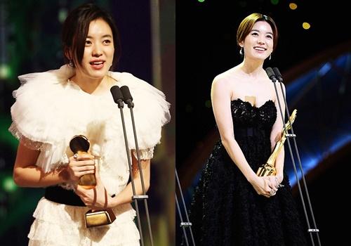 Han Hyo Joo nhận giải Thị hậu năm 2011 (trái) và Ảnh hậu năm 2013 (phải).