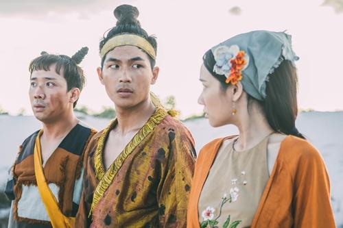 Từ trái qua: Trấn Thành, Quốc Anh, Nhã Phương trong phim