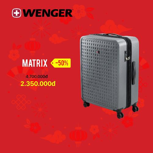 BST Matrix của Wenger (Thụy Sĩ) với chất liệu polycarbonate có khả năng chống thấm nước,chống trầy xước, ngoài ra còn được tích hợp khóa TSA và thiết kế nội thất thông minh với nhiều ngăn chứa hành lý. Khi mua sản phẩm, bạn có thể đượctặng kèm túi đựng giày.