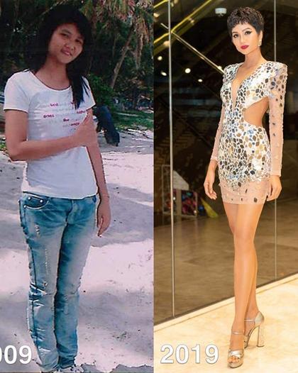 Trước khi trở thành Hoa hậu Hoàn vũ Việt Nam 2017, HHen Niê khá tròn trịa. Cô đã có cuộc lột xác về ngoại hình sau khi giảm cân để làm người người mẫu.