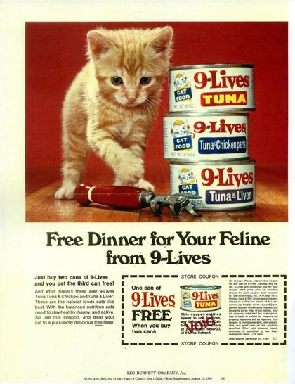 Hình ảnh mèo của Chandoha thường được sử dụng làm quảng cáo. Một tờ quảng cáo năm 1956 cho thương hiệu thức ăn mèo viết: Những nàng mẫu mèo của Walter Chandoha, xuất hiện trên trang này, hẳn là rất lanh lợi, duyên dáng và xinh đẹp. Để có được điều này, ngài Chandoha đã cho chúng ăn thực phẩm của Puss n Boots, bởi Puss n Boots rất giàu dinh dưỡng.