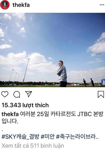 Chia sẻ của Liên đoàn bóng đá Hàn Quốc trên Instagram..