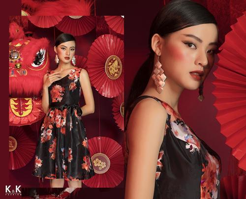 Đầm xòe họa tiết hoa thắt nơ eo KK82-40; giá: 450.000 đồng.
