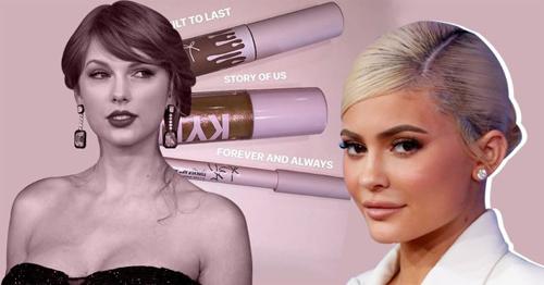 Kylie Jenner (phải) sản xuất mỹ phẩm và đặt tên theo ca khúc của Taylor Swift.