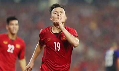 Quang Hải ăn mừng bàn thắng trong một trận đấu. Ảnh: Đức Đồng.