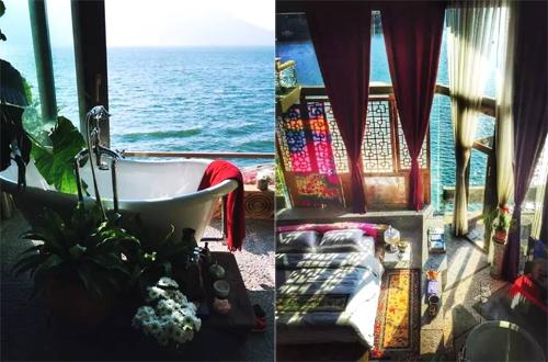 Bồn tắm và nơi nghỉ ngơi của Dương Lệ Bình.