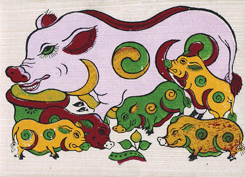 Hình ảnh đàn lợn trong tranh Đông Hồ.