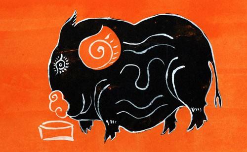 Chú lợn ỉ trong tranh Kim Hoàng.